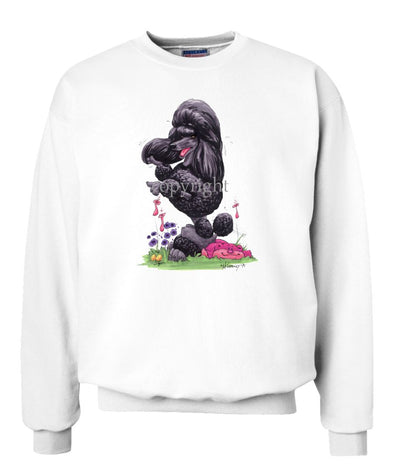 Poodle  Black - Sitting Pose - Caricature - Sweatshirt