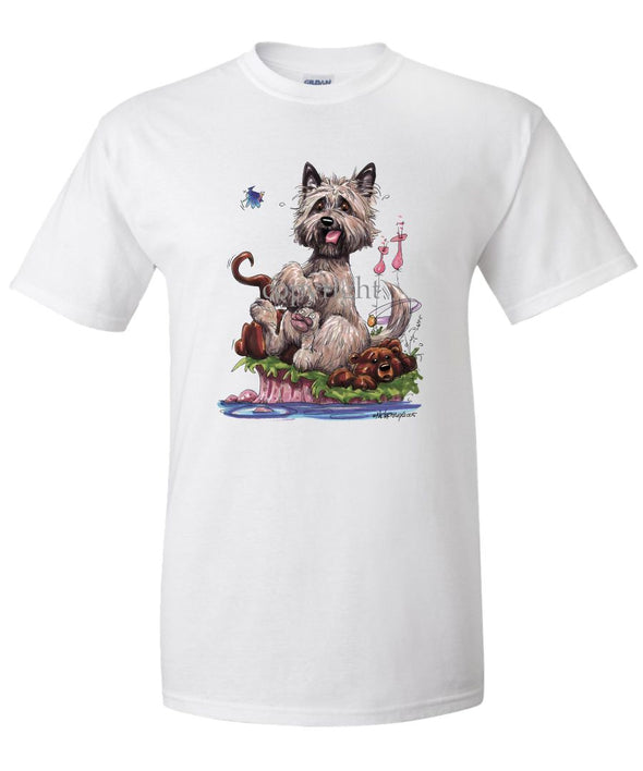 Cairn Terrier - Sitting On Otter - Caricature - T-Shirt
