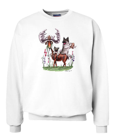 Norwegian Elkhound - Sitting On Moose - Caricature - Sweatshirt