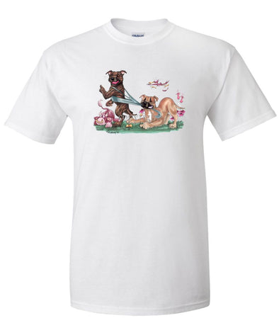 Staffordshire Bull Terrier - Group Tugging On Shirt - Caricature - T-Shirt