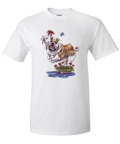 Bulldog - With Flower - Caricature - T-Shirt