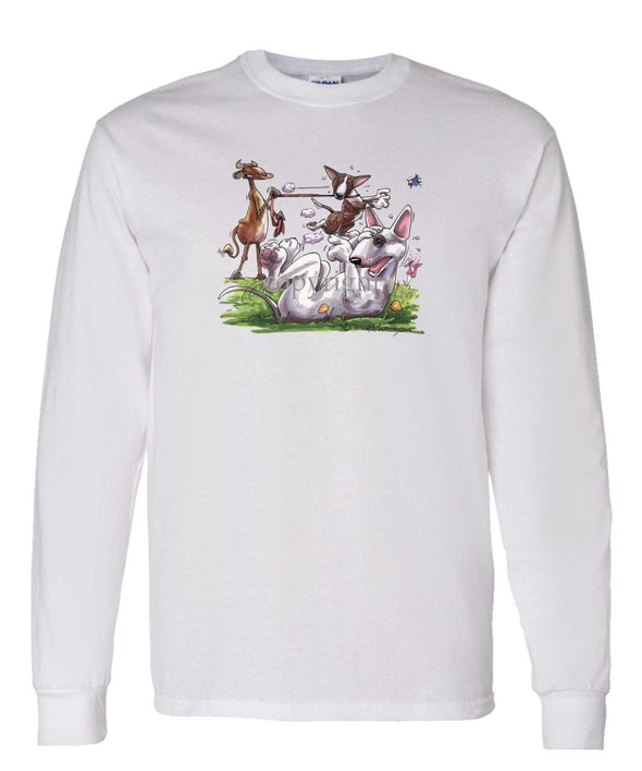 Bull Terrier - Group With Cow - Caricature - Long Sleeve T-Shirt