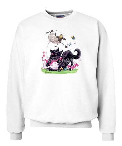 Belgian Sheepdog - Puppy Pose Chasing Sheep - Caricature - Sweatshirt