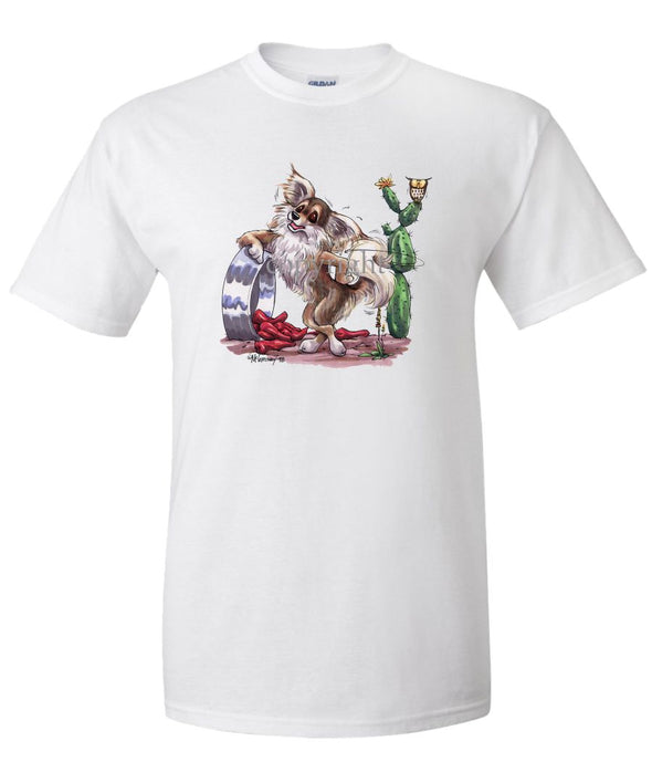 Chihuahua  Longhaired - Standing With Dish And Peppers - Caricature - T-Shirt