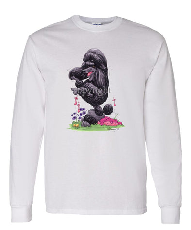 Poodle  Black - Sitting Pose - Caricature - Long Sleeve T-Shirt