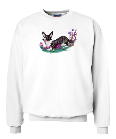 Welsh Corgi Cardigan - Flowers - Caricature - Sweatshirt