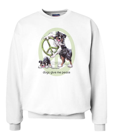 Australian Shepherd  Black Tri - Peace Dogs - Sweatshirt