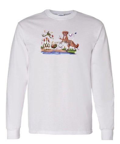 Nova Scotia Duck Tolling Retriever - Bowling Ducks - Caricature - Long Sleeve T-Shirt