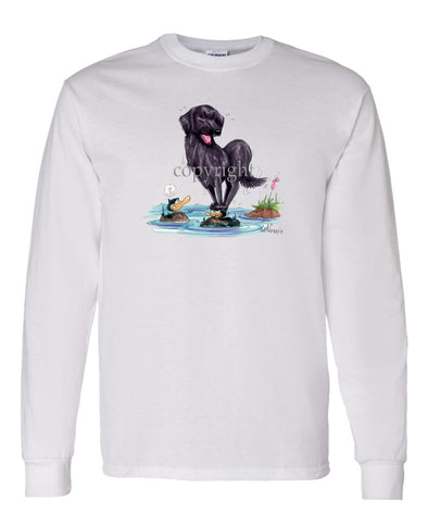 Flat Coated Retriever - Standing On Ducks Head - Caricature - Long Sleeve T-Shirt