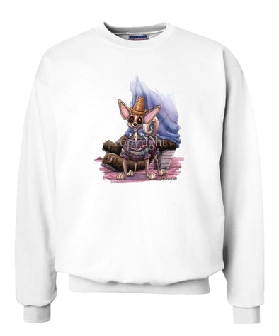 Chihuahua  Smooth - Standing With Hat And Sweater - Caricature - Sweatshirt