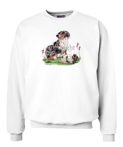 Australian Shepherd  Blue Merle - Tickling Sheep - Caricature - Sweatshirt