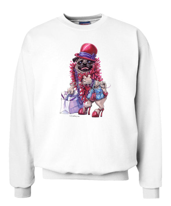 Pug - Red Hat - Caricature - Sweatshirt