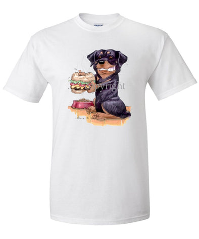 Rottweiler - Cheesburger - Caricature - T-Shirt