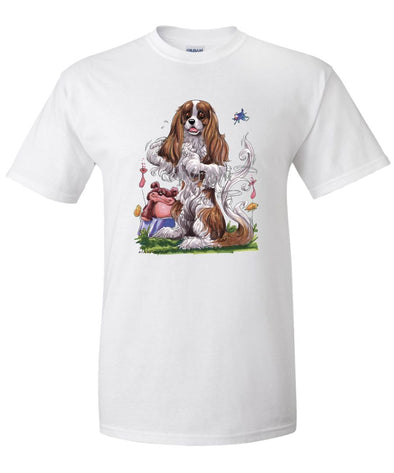 Cavalier King Charles - Sitting Teddy Bear - Caricature - T-Shirt