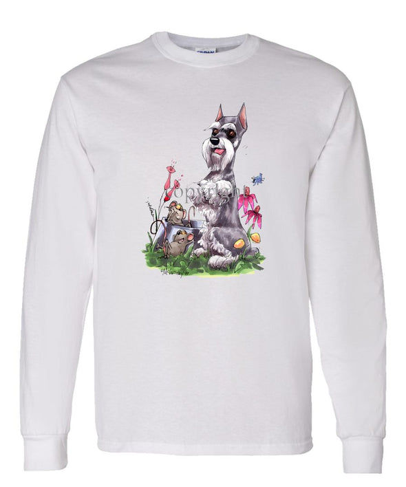 Schnauzer - Sitting With Mice Dish - Caricature - Long Sleeve T-Shirt