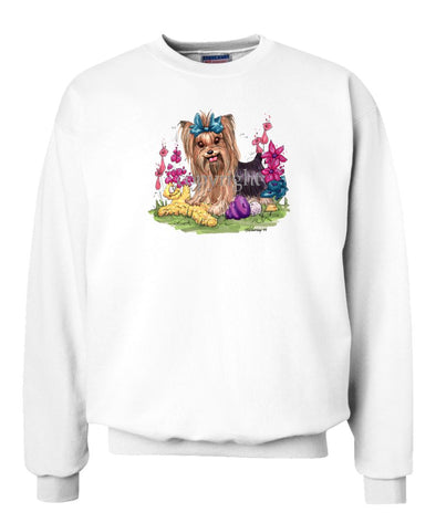 Yorkshire Terrier - Toys Turquoise Ribbon - Caricature - Sweatshirt