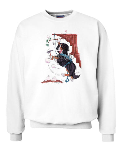 Bernese Mountain Dog - Hanging From Cliff - Caricature - Sweatshirt