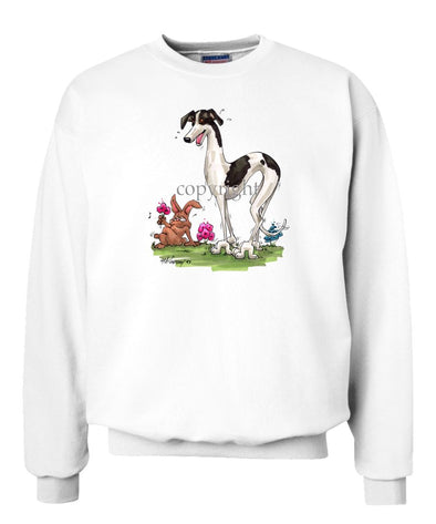 Greyhound - Sneeking Up On Rabbit - Caricature - Sweatshirt