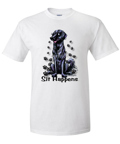 Flat Coated Retriever - Sit Happens - T-Shirt