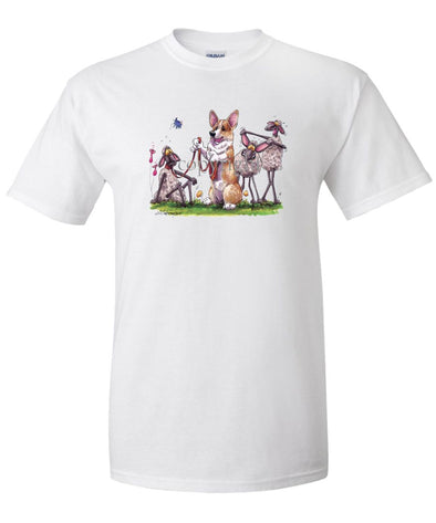 Welsh Corgi Pembroke - Sheep Mocking Corgi Ears - Caricature - T-Shirt