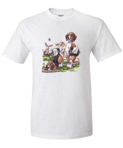 Beagle - Digging With Rabbits - Caricature - T-Shirt