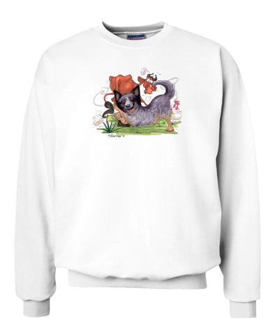 Australian Cattle Dog - Tackling Cow - Caricature - Sweatshirt