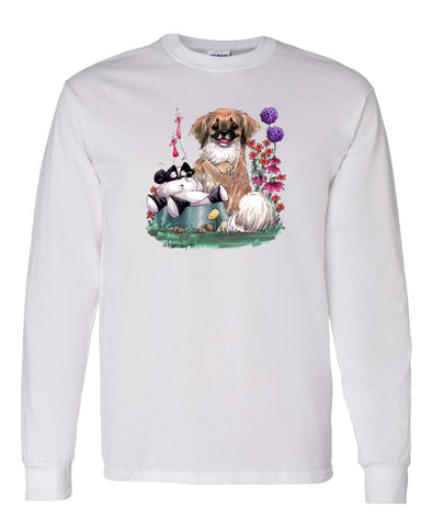 Tibetan Spaniel - Sitting With Toy Panda - Caricature - Long Sleeve T-Shirt