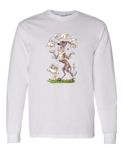 Greyhound - Juggling Rabbits - Caricature - Long Sleeve T-Shirt