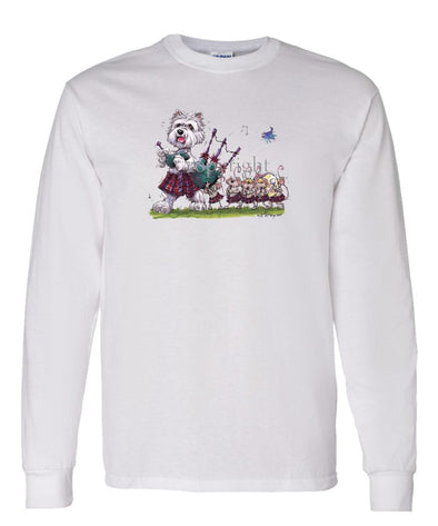 West Highland Terrier - Bagpipes - Caricature - Long Sleeve T-Shirt