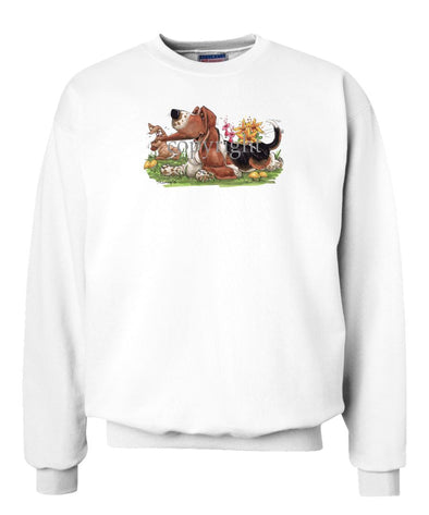 Basset Hound - Rabbit Pulling Ear - Caricature - Sweatshirt