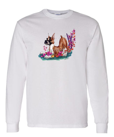Boxer - Puppy Pose In Flowers - Caricature - Long Sleeve T-Shirt