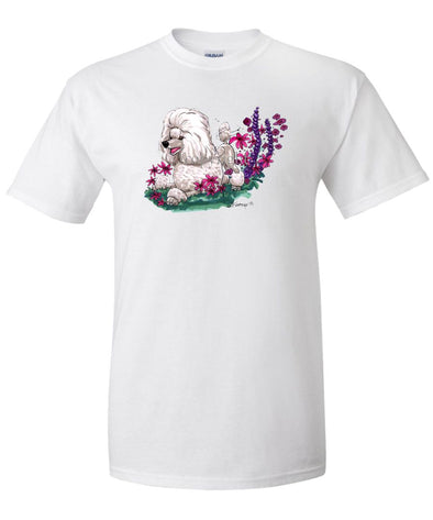 Poodle  Toy White - In Flowers - Caricature - T-Shirt