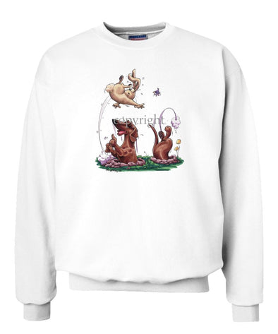 Dachshund  Smooth - Chasing Rabbit Out Of Hole - Caricature - Sweatshirt