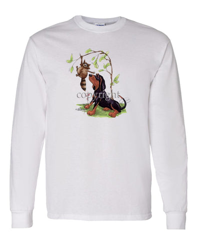 Black And Tan Coonhound - Caricature - Long Sleeve T-Shirt