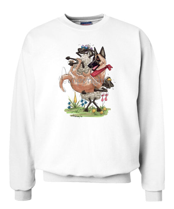 Belgian Malinois - Sheep Holding Malinois - Caricature - Sweatshirt