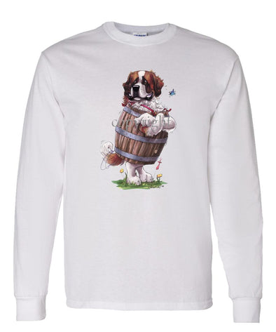 Saint Bernard - Standing In Barrel - Caricature - Long Sleeve T-Shirt