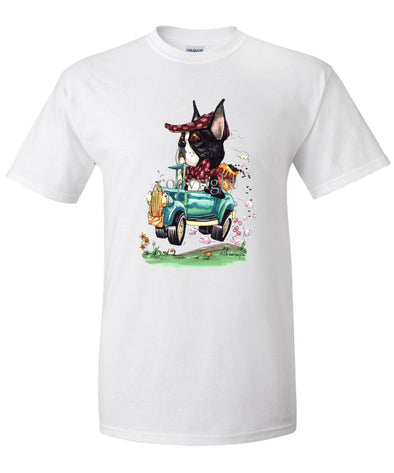 Boston Terrier - Jalopy Hauling Beans - Caricature - T-Shirt