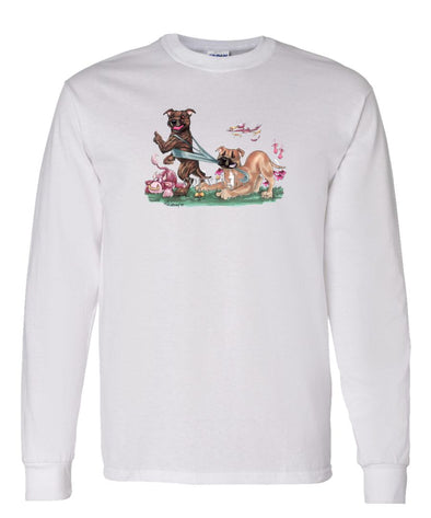 Staffordshire Bull Terrier - Group Tugging On Shirt - Caricature - Long Sleeve T-Shirt