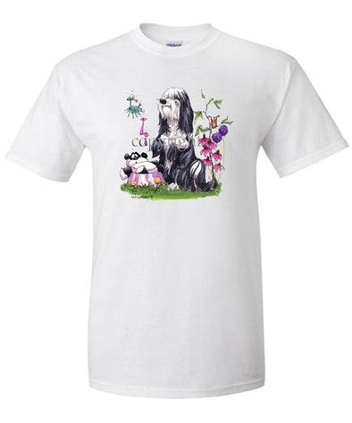 Tibetan Terrier - Panda In Dish - Caricature - T-Shirt