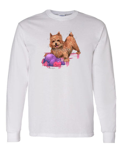 Norwich Terrier - With Stuffed Bear - Caricature - Long Sleeve T-Shirt