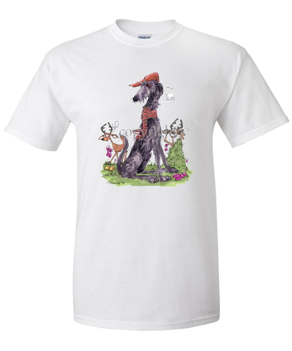 Scottish Deerhound - Hat Scarf Deer - Caricature - T-Shirt