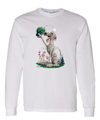 Irish Wolfhound - Tipping Hat - Caricature - Long Sleeve T-Shirt