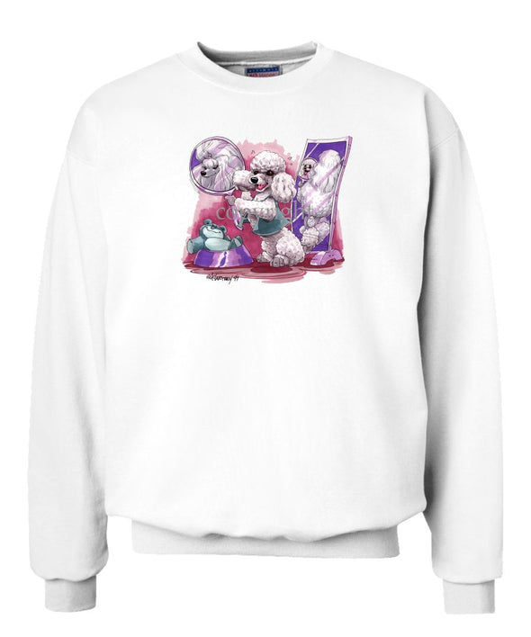 Poodle  Toy White - Mirror - Caricature - Sweatshirt
