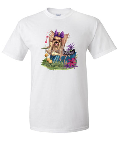 Yorkshire Terrier - In Dish Purple Ribbon - Caricature - T-Shirt