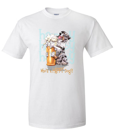 Australian Shepherd  Blue Merle - 2 - Who's A Happy Dog - T-Shirt