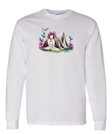 Shih Tzu - Butterflys - Caricature - Long Sleeve T-Shirt