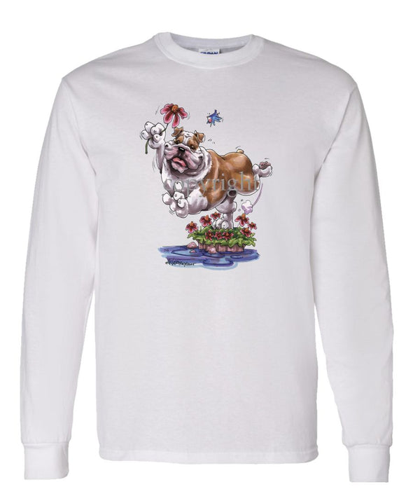 Bulldog - With Flower - Caricature - Long Sleeve T-Shirt