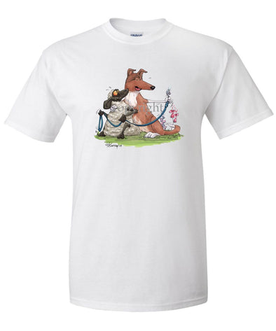 Collie  Smooth - Hugging Sheep With Leash - Caricature - T-Shirt