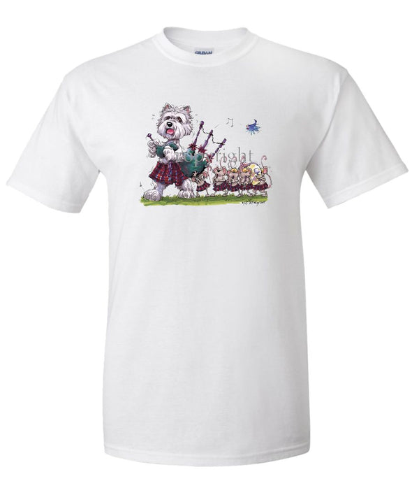 West Highland Terrier - Bagpipes - Caricature - T-Shirt