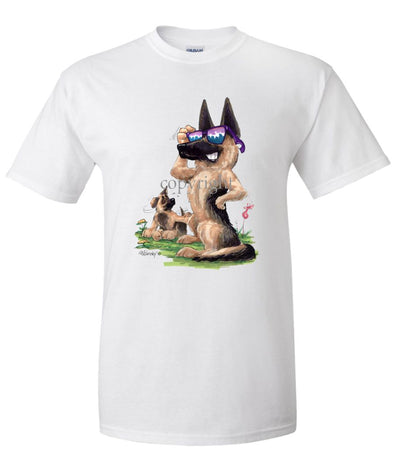 German Shepherd - Shades With Puppy - Caricature - T-Shirt